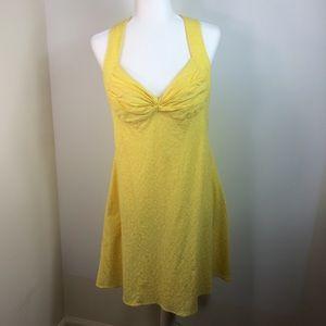 Calvin Klein Embroidered Halter Dress Yellow 14